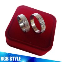 RING TITANIUM SILVER PASIRAN STIPE PERMATA / CINCIN COUPLE WEDDING