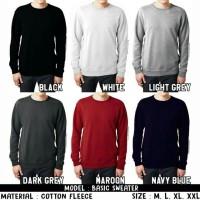 Jual Sweater Fleece Basic Polos Murah - Jaket Pria Wanita Rajut Murah