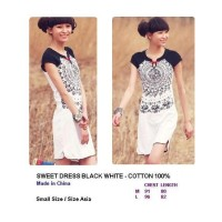 SWEET DRESS - BLACK WHITE. COTTON 100%. Made in China