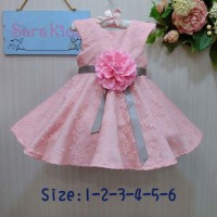 SALE Dress, Baby Pink, Sara Kids, Sz 2-7th, cck bt pesta