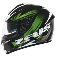 ZEUS 806 corsa black green hitam hijau helm fullface double visor