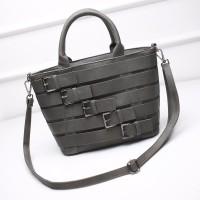tas handbags abu tua hitam resleting zipper belt wanita unik mango vnc