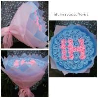 Jual Buket Full Mawar Model Huruf/Angka | Bunga Flanel Murah
