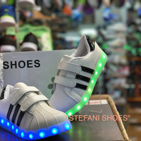 sepatu anak unisex led shoes paling murah new model bisa dicharger/cas