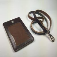 Jual gantungan ID card kulit asli warna coklat | id card holder name tag Murah