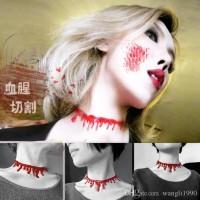 Kalung choker horor tetesan darah blood necklace halloween party