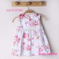 harga baju bayi putih perempuan gaun pesta baby bunga dress anak white rose .