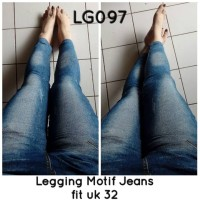 Jual Jeans Legging Bahan Kaos Stretch Motif Denim Murah