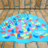 Topi Renang Speedo Slogan Print Cap Blue Candy Original seri 2017