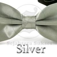 Jual dasi kupu kupu silver satin silk cocok utk pesta acara formal Murah