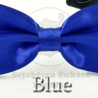 Jual dasi kupu kupu biru elektrik satin silk cocok utk pesta acara formal Murah