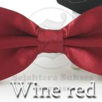 Jual dasi kupu kupu merah maroon satin silk cocok utk pesta acara formal Murah