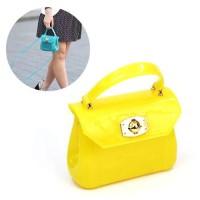 Tas Genggam Mini Furla Jelly Kuning Polos /Hand bags Terlaris / B36097