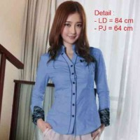[Hem Blue LT] blouse wanita cotton blue
