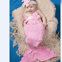 Baju Fashion Anak Baby Bayi Kostum Rajut Duyung Mermaid Softpink Photo