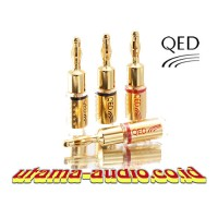 QED SCREWLOC Gold 4mm BANANA PLUGS for Speaker Cable - 4 pcs