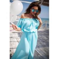 Jual Dress Terbaru Wanita Sabrina Shoulder Off Elegant Chiffon Biru Murah