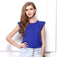 Jual Blouse Terbaru Wanita Cantik Loose Chiffon Biru 100% Cantik Murah