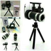 Lensa telezoom 8x plus tripod lensa pembesar kamera hp murah meriah