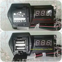 VOLTMETER CHARGER HP USB 2 IN 1 casan UNIVERSAL Motor mobil Nmax Xmax