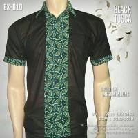 BATIK KOMBINASI POLOS Warna Hitam EX-010 | Seragam Batik Elegan