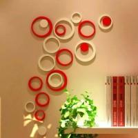 Jual 3D wall stiker hiasan dinding bentuk bulat dari kayu aneka warna Murah