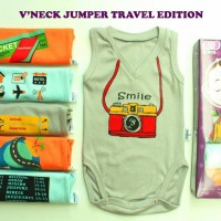 Jual SINGLET JUMPER BAYI / BAJU BAYI LUCU / V'NECK JUMPER TRAVEL EDITION Murah