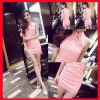 harga Cheongsam imlek Qipao warna pink/ shanghai dress modern fashion wanita Tokopedia.com