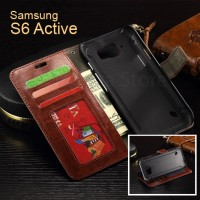 Samsung Galaxy S6 Active Wallet Flip Leather Cover Casing Case Dompet