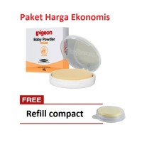 PROMO PIGEON Baby Compact Powder Cake 45Gr White Free Refill