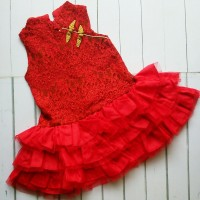 Dress Cheongsam Anak Red List Gold