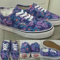 Sepatu Kets Skate Vans Authentic Floral Print Purple Blue Ungu Biru