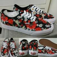 Sepatu Kets Vans Authentic Digi Floral Flower Print Red Black White