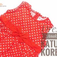 Baju Dress Anak Balita Perempuan Polkadot Merah