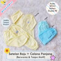 Jual 3 Stel Setelan Baju Bayi Newborn + Celana Panjang Polos Berwarna SPW3 Murah