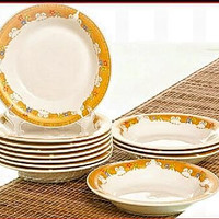 vicenza p131 12pcs piring saji/dapur/pelengkap meja makan