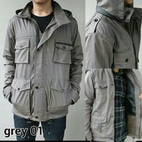 Jaket Parka Premium Gray List Black