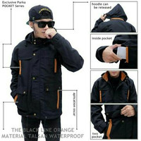 Jaket Parka Waterproof Black Line Orange
