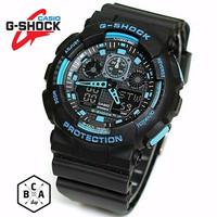Jam Tangan G-Shock/GShock GA100 HITAM List Biru
