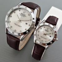 Jual Jam Tangan Rolex Couple Leather Brown Silver Harga Sepasang Murah