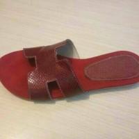 Jual sandal kulit sapi asli sendal flat teplek wanita model hermes Murah
