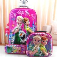 harga Tas Sekolah Anak Trolley Dorong-tarik Import 3 Roda 6d 4in1 Set Frozen Tokopedia.com