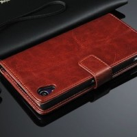 harga Leather Flip Cover Wallet Sony Xperia Z1 Case dompet Kulit Casing HP Tokopedia.com