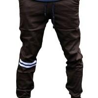 Jual Jogger Pants Brown - Strip Putih Murah