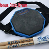 Drum Pad 6 inc Merk ASPN Bisa diikat dipaha (Bonus Stick Drum)