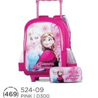 Jual Tas Dorong / Tas Sekolah Anak Perempuan Frozen + Tempat Pensil 524-09 Murah
