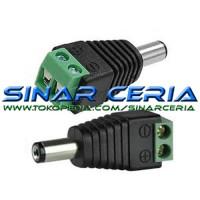 Jack DC Baut Jantan 2.1x5.5mm Male Power Plug to Screw Soket CCTV Male