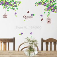 Hibiscus Purple Flowers AY1916B - Stiker Dinding / Wall