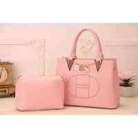 tas hand bag sandang selempang pink soft wanita 2 in 1 pcs prada fosil