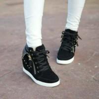 Jual zr03 hitam sepatu boot boots wedges kets casual sneakers wanita Murah